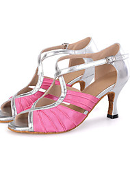 "cheap -Women's Latin Leatherette Satin Sandal Sneaker Heel Performance Buckle Hollow-out Ruffles Flared Heel Navy Peach Brown 2"" - 2 3/4"""