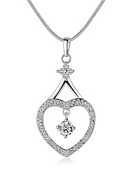 cheap -Men's Women's Sterling Silver Zircon Rhinestone Choker Necklace Pendant Necklace Pendant  -  Luxury Love White Necklace For Christmas