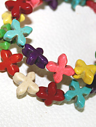 Beadia 2Str x 38Cm(Approx 66PCS) Turquoise Stone Beads 15x15mm Cross Shape Mixed Color Gemstone Loose Beads