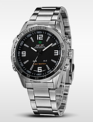 cheap -WEIDE® Men's Casual Watch Brand Stainless Steel Band LED Double Time Quartz Wristwatch Cool Watch Unique Watch