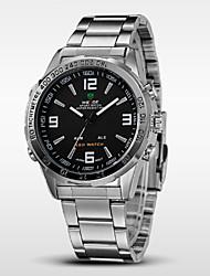 WEIDE Pánské Náramkové hodinky Křemenný Japonské Quartz LED Kalendář Chronograf Voděodolné Hodinky s dvojitým časem poplach Nerez Kapela