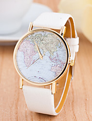 cheap -Women's Sport Watch Wrist Watch Quartz Large Dial Genuine Leather Band Analog Charm Fashion World Map Multi-Colored - Red Green Pink