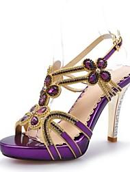 abordables -Mujer Zapatos Cuero Materiales Personalizados Verano Tacón Stiletto para Boda Vestido Fiesta y Noche Plata Morado