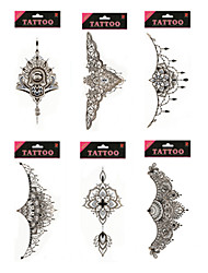 cheap -1/Pcs Waterproof Under Breast Tattoo High Quality Temporary Tattoo Metallic Sternum Tattoo Six Design Choosing