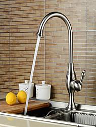 Moderno Vasca e doccia Cascata with  Valvola in ceramica Uno Una manopola Un foro for  Nickel spazzolato , Lavandino rubinetto del bagno