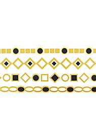 Séries de Jóias Tatuagem Adesiva - Estampado - para Feminino/Girl/Adulto/Adolescente - de Papel - Dourada - #(14x6) #(1)