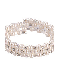 cheap -Three Layer Pearl Crystal No Clasp Elastic Bangle Bracelet Jewelry (One Size for All)