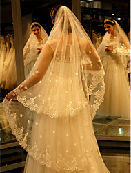 cheap -One-tier Lace Applique Edge Wedding Veil Cathedral Veils With Embroidery Lace Tulle
