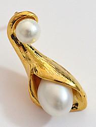 abordables -Mujer Perla / Perlas de agua dulce Pendiente - Chapado en oro 18K, Perla, Plata de ley Piedras Blanco / Dorado Para Boda / Fiesta / Diario / Chapado en Oro