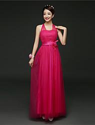 economico -vestito dalla damigella d'onore del raso della lunghezza della caviglia di a-line con il fascio del fiore dalla moda di hua cheng