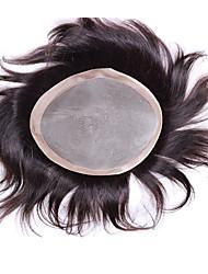 """6 """"* 8"""" parti dei capelli vergini umani per gli uomini parrucchino parrucca di base parrucchino mono 6 pollici"""