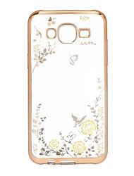 economico -Custodia Per Samsung Galaxy Samsung Galaxy Custodia Placcato / Transparente Per retro Fiore decorativo TPU per J5 (2016)