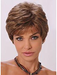 cheap -short wavy elegant trendy bang fluffy synthetic brown capless wig for women