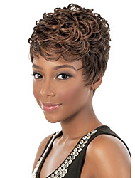 Women Short Curly Synthetic Hair Wig Brown Heat Resistant Fiber Cheap Cosplay Party Wig Hair