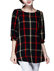 Women's Check Black Blouse,Round Neck ¾ Sleeve