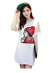 cheap -Women's Plus Size Cute Loose Dress Flower Print
