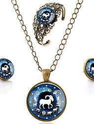 Juego de Joyas Gemelo Vintage Casual Estilo Simple eingeritzt Piedras preciosas sintéticas Legierung Flor Pulsera Collar Pendientes