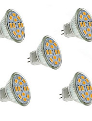 1.5W GU4(MR11) Faretti LED MR11 12 leds SMD 5730 Decorativo Bianco caldo 130-150lm 2800-3200K DC 12V