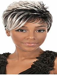 cheap -Synthetic Hair Wigs Straight Curly African American Wig Natural Wigs Short Grey Party