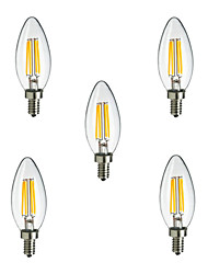 cheap -HRY 5pcs 2.5W 250 lm E14 LED Filament Bulbs CA35 4 leds High Power LED Decorative Warm White Cold White AC 220-240V