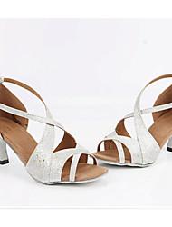 cheap -Women's Latin Glitter Indoor Customized Heel Silver Customizable
