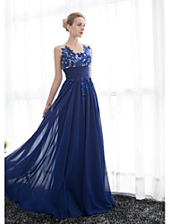 cheap -A-Line Scoop Neck Floor Length Tulle Georgette Formal Evening Dress with Beading Appliques Ruching by Embroidered Bridal