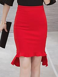 povoljno -Žene Veći konfekcijski brojevi Sirena kroj Bodycon Suknje - Jednobojni, Nabori