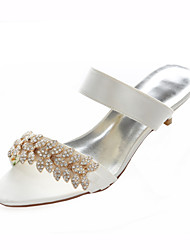 Women's Summer Stretch Satin Wedding Dress Party & Evening Low Heel Crystal Ivory Silver