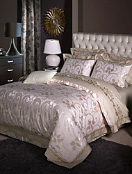 cheap -Luxury Silk Cotton Blend Duvet Cover Sets Queen King Size Bedding Set
