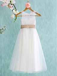 cheap -A-Line Tea Length Flower Girl Dress - Lace Tulle Sleeveless Jewel Neck with Bow(s) Sash / Ribbon Pleats by LAN TING BRIDE®