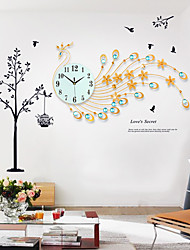 Modern Creative Fashion Gold Peacock Shape Metal Mute Wall Clock