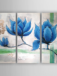 cheap -Oil Painting Bule Flowers Set of 3 Hand Painted Canvas with Stretched Framed Ready to Hang