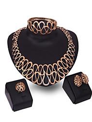preiswerte -Damen Kubikzirkonia 18K Gold Schmuck-Set Armband Ohrringe Halsketten Ring - Breiter Armreif Retro Niedlich Party Büro Freizeit Erklärung
