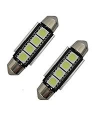 Недорогие -jiawen 2pcs 42mm 1.5w 80-90 lm свет света чтения света света света 4 водить smd 5050 холодный белый dc 12v