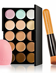 15 Colors Contour Face Cream Makeup Concealer Palette+ Glove MakeUp Washing Cleaning Brush +  High Quality Powder Brush