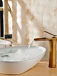 Недорогие -Современный Чаша Водопад Керамический клапан Одно отверстие Одной ручкой одно отверстие Латунь , Ванная раковина кран