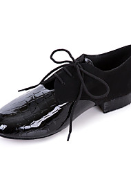 cheap -Men's Modern Ballroom Leatherette Oxford Low Heel Black Non Customizable