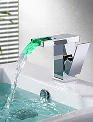 cheap -Contemporary Deck Mounted Waterfall LED Ceramic Valve Single Handle One Hole Chrome, Bathroom Sink Faucet