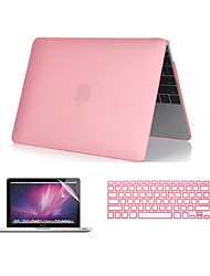 "Case for Macbook Pro 13.3""/15.4"" Solid Color ABS Material 3 in 1 Crystal Clear Soft-Touch Case with Keyboard Cover and Screen Protector"