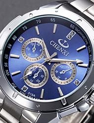Herren Armbanduhr Quartz Edelstahl Band Luxuriös Schwarz Silber Weiß Schwarz Rot Blau