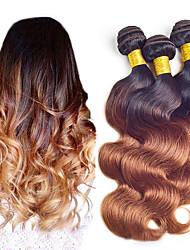 Недорогие -3 Связки Бразильские волосы Естественные кудри Не подвергавшиеся окрашиванию Омбре 8-24 дюймовый Ткет человеческих волос Расширения человеческих волос / 10A
