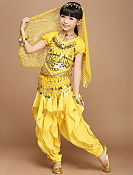 Shall We Belly Dance Outfits Children 4 Pieces Pants/Top/Veil/Scarf