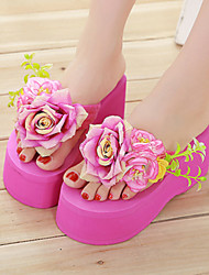 Women's Shoes Fabric Platform Flip Flops Slippers Outdoor / Dress Pink / Red / White