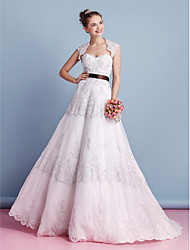 cheap -A-Line Sweetheart Sweep / Brush Train All Over Floral Lace Custom Wedding Dresses with Lace by LAN TING BRIDE®
