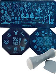 Недорогие -рождественские поделки польша снег изображение шаблона передачи маникюр nc165 инструмент