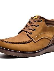 Недорогие -Желтый / Серо-коричневый Мужская обувь Для прогулок / Для офиса / На каждый день / Для вечеринки / ужина / Работа и обязанности Кожа