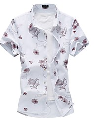 Men's Fashion Slim Short Sleeve Linen Flower Shirt,Cotton / Polyester Casual / Plus Sizes Floral