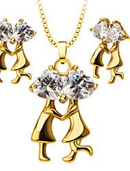 abordables -Femme Cristal Ensemble de bijoux - Strass, Plaqué or Rétro, Mode Comprendre Collier / Boucles d'oreilles Or Pour Mariage / Soirée / Quotidien / Colliers décoratif