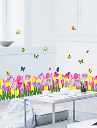 cheap -Stairs Skirting Line Colorful Tulip Flower Wall Stickers PVC Butterfly Glass Wall Decals