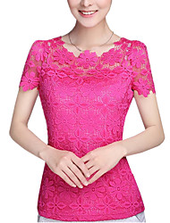 cheap -Women's Lace Summer Plus Size  Solid Color Round Neck Short Sleeve Lace Blouse Slim Was Thin T-shirt Tops